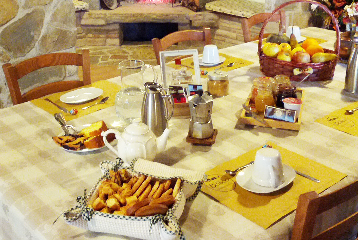 Breakfast at the guesthouse Casale Bosco